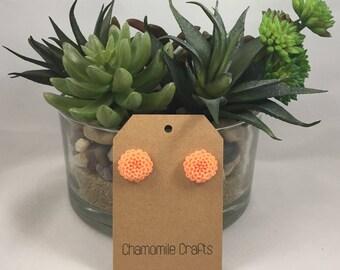 Chrysanthemum Earrings Salmon Orange