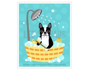 7D Boston Terrier Print - Boston Terrier Dog in Bubble Bath Wall Art - Bathroom Print - Boston Terrier Art - Terrier Dog Print - Dog Decor