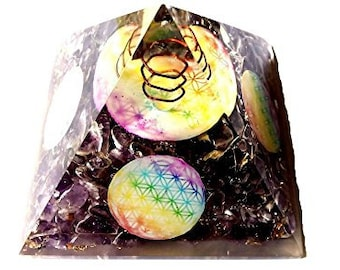 WholesaleGemShop Amethyst Orgone Pyramid Flower Of Life 4 Sides Christmas Tower Buster Piezo Electric EMF Protection with Free Shipping