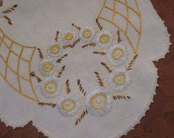 Vintage Hand Embroidered Linen Dresser Scarf - Pale Blue, Yellow, and Brown Table Runner