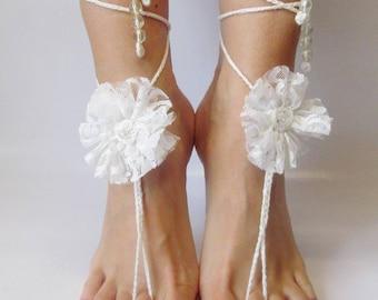 White barefoot White Footless Sandals Beach Wedding Sandals Bridal Barefoot Sandals Foot Jewelry Barefoot Wedding barefoot Beach sandals