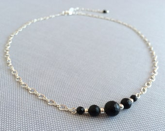 Black onyx bar necklace. Minimal silver sterling filled chain. Simple necklace silver delicate necklace. Black delicate jewelry set.