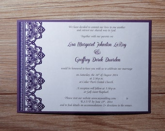 Purple Wedding Invitation, beautiful Invitation, Purple  Wedding Invitations, Purple Invitations, Lace Invitation, lace, Purple Invitation