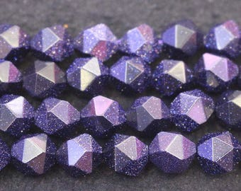 Faceted Blue Goldstone Nugget Beads, 6mm 8 mm 10mm 12mm Blue Goldstone faceted nugget Beads, 15 inches per strand