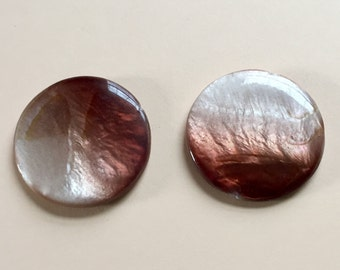 Genuine Shell Beads, Mother Of Pearl Beads, Shell Beads, 30mm, Brown Shell Beads,Brown Shimmer,Rainbow Iridescence,Great Color Play,2 Pieces