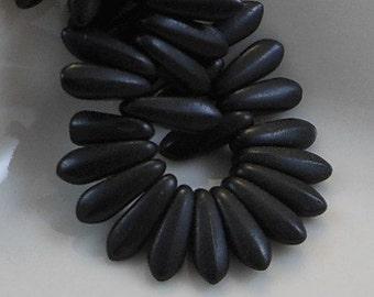 Czech Glass Dagger Beads 11x3mm Matte Black (15pk) SRB-11x3D-MBLK