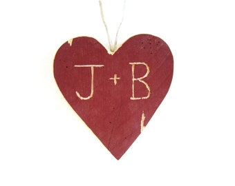 Personalized Ornament . Rustic Ornaments . Custom Wedding Cake Topper Rustic . wood ornaments . red heart . white heart