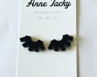 EYELASH stud earrings black laser cut acrylic 15mm