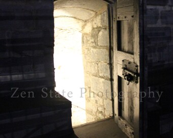 Spooky Photo. Gothic Door Dark Art Night Photography. Ghost Photo Print. Fort Henry Photo. Unframed Print, Framed Print, Canvas Photography.
