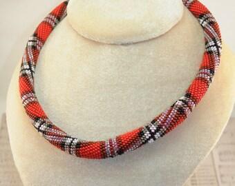 Scottish cell valentine gift for her girlfriend handmade bridesmaid Bead Rope Necklace Bead Crochet Jewelry Rope Jewelry Ukrainian Seller