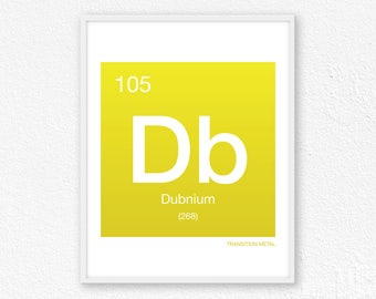 105 Dubnium, Periodic Table Element | Periodic Table of Elements, Science Wall Art, Science Poster, Science Print, Science Gift