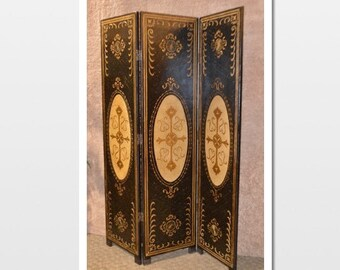 Painted Three Section Adjustable Florentine Style Screen/Room Divider