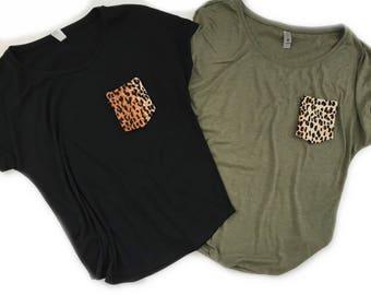 Women's Tshirt, Women's Pocket Tee, Leopard Print Pocket