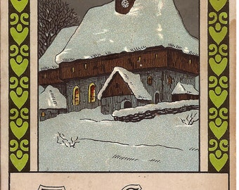 Carte postale ancienne de Noël, 25 déc. 1914, église enneigée, carte Made in Germany