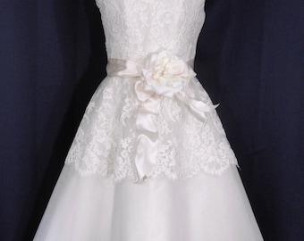 Audrey Hepburn Inspired Alencon Lace and Silk Organza Romantic Tea Length Custom Made Wedding Gown