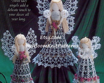 6 angels crochet pattern tree top angel standing angel 3 lacy angels crochet pattern tree top angel christmas angel ornaments tree trims decorations holiday christmas dt1010fo