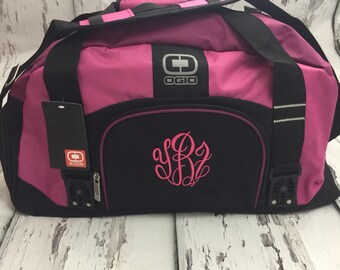 Monogrammed Gym Bag, Personalized Duffel Bag, Personalized Dym Duffle, Pink Workout Bag Many Colors~Embroidery Included