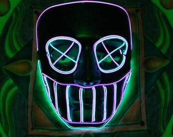 SteamPUNK Light Up Mask - 14+ft of EL Wire,Custom,Handmade,Exclusive,Party,Halloween,Concert,Festival,Purple,Blue,Mardi Gras,Cosplay,LED