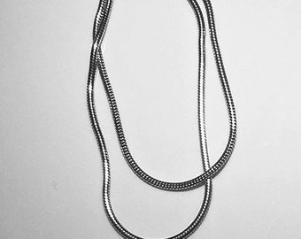 Multi strand sterling silver necklace, vintage silver necklace,