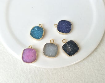 5 pcs 12mm Tiny Square Gold Plated Natural Agate Druzy Charm Pendant Single Loop Natural Geode Crystal Gemstone Bead Making Jewelry PD468