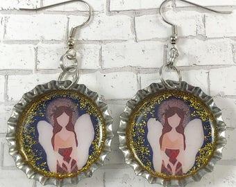Angel Earrings, Angel Jewelry, Guardian Angel, Religious Jewelry, Bottle Cap Earrings, Upcycled Jewelry, Repurposed Earrings