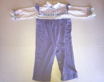 Vintage HealthTex lavender romper, 24 months, 2t, 80s clothing, toddler