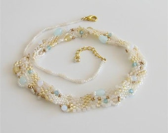 Bib Style Beaded Necklace with Crystals and Faceted Beads in Cream, Bronze and Teal. OOAK Free Form Sea Inspired Textured Necklace S258
