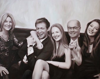 Home Decor Wall Art Family Portrait Custom Painting from Your Photo Family Painting