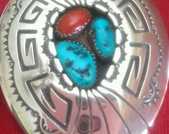 Navajo Shadowbox Sleeping Beauty Blue Turquoise, Red Coral & Silver Bolo Native American Collectible Signed USA