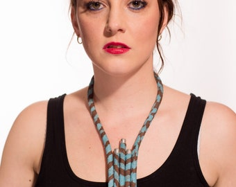 Necklace blue Brown and indigo African design