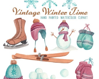 Winter clipart watercolor set, vintage style winter hats and mitten graphics, watercolor clipart winter sports and skates commercial use