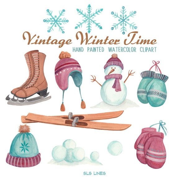 winter clipart watercolor set vintage style winter hats and mitten rh etsystudio com winter clip art images winter clip art gif