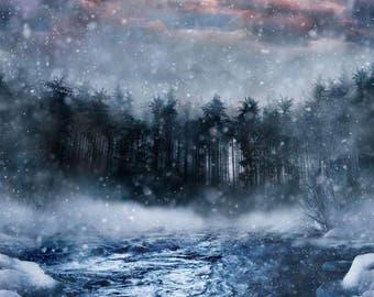 "Call of The Wild Storm Snowy River Hoffman Spectrum Digital Fabric 35"" Panel"