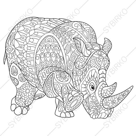 Rhino. Rhinoceros. Coloring Page. Animal coloring book pages
