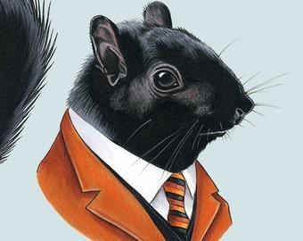 Black Squirrel art print 11x14