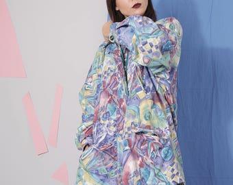 pastel abstract jacket size 44 46, 90s colorful print windbreaker, retro vintage lightweight jacket coat, plus size vintage