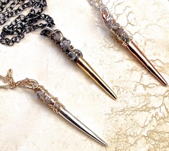 Raw diamond Necklace - Spike Necklace - Rough Diamond Jewelry - Edgy Jewelry - Mixed Metal Necklace - Boho Jewelry - April Birthstone
