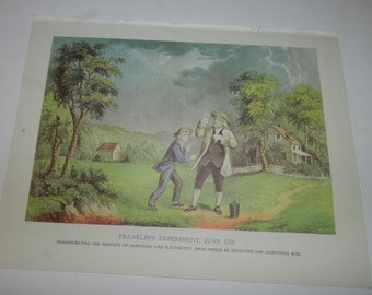 """Franklin's Experiment, June 1752 - Currier & Ives Print from 1968 Book, Chronicles of America - 9 3/16"""" X 11 15/16"""" - Book Art Page    31-56"""