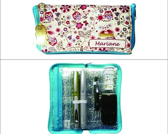 Insulated Insulin and Glucometer Case - Owls on Flowers