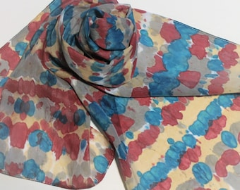 Hand Painted Silk Scarf - Handpainted Scarves Tie Dyed Teal Green Blue Turquoise Dark Red Gray Grey Silver Cream Tan Beige Dye