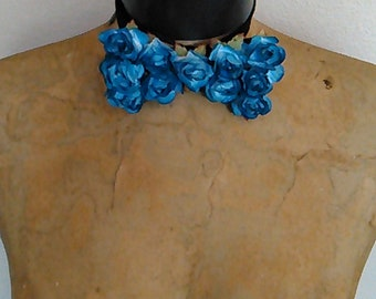 Fathers Day Prom Kentucky Derby Bridal Blue rosette embellished bow tie