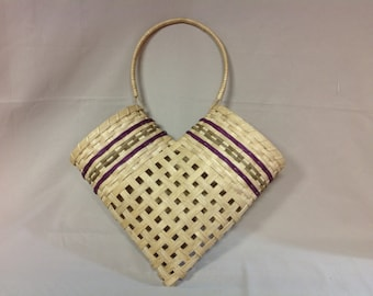 Hand Woven Friendship Basket, Wall or Door Hanging Basket