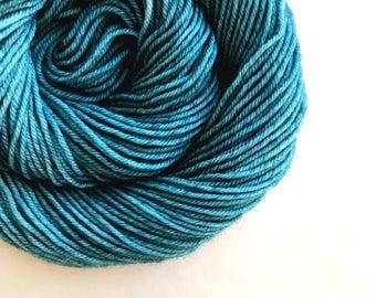 TEAL hand dyed yarn fingering sock dk bulky yarn. super wash merino wool yarn. single or ply choose your base. green blue yarn