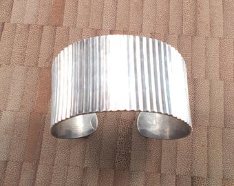 Vintage Mexico Sterling Silver Hammered Cuff Bracelet