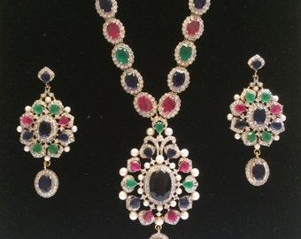 Multi stone Hijab Necklace, Long Green Necklace, Nizam Gulubandh Necklace,Indian Wedding Jewelry,Statement Necklace, Emerald Necklace