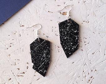 Dangly geometric black earrings | white speckle pattern | shard earrings | monochrome | statement jewellery | gifts under 20 | gifts for her