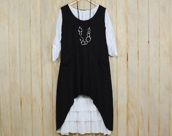 Plus Size Lagenlook Tunic Top Quirky Cotton Dress Pinafore Artsy New Pockets Sleeveless UK 14 16 18  /US 12 14 16 BLACK  8763