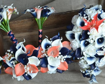 Coral Navy Wedding Package--Bridal Bouquets Bridesmaids Bouquets Boutonnieres Real Touch Coral Navy Picasso Calla Lilies White Roses