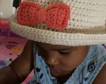 Baby summer hat, sized to fit 6-12 months, summer cloche, crochet hat, cotton hat, brim hat, bow tie hat