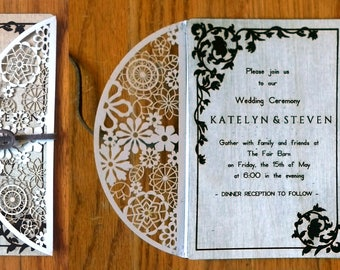 Wood and Lace Wedding Invitation, Baby Shower Invitation, or Birth Announcement